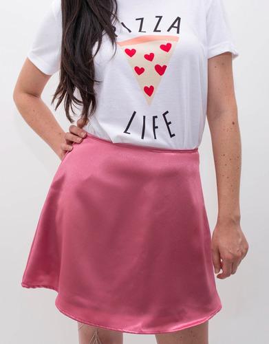 falda mini mujer satinada rosa minifalda