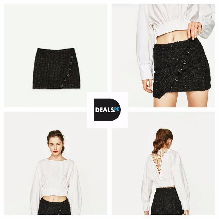 257d93bac Falda Minifalda Negra Zara Talla L Original Mujer Verano