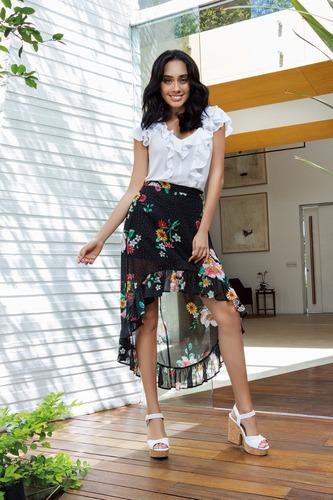 falda negra con flores cortilarga incluye forro