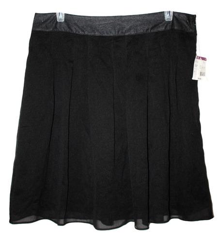 falda negra corta plisada con bolsas formal talla 12 nueva