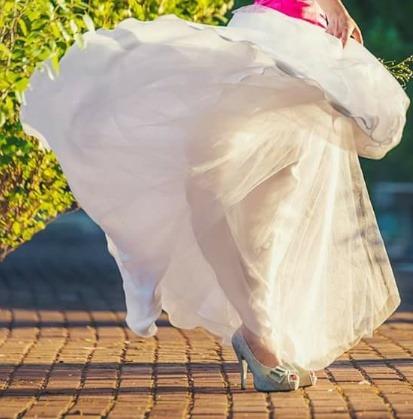 falda plato en piel de ángel y dos capas tul nupcial