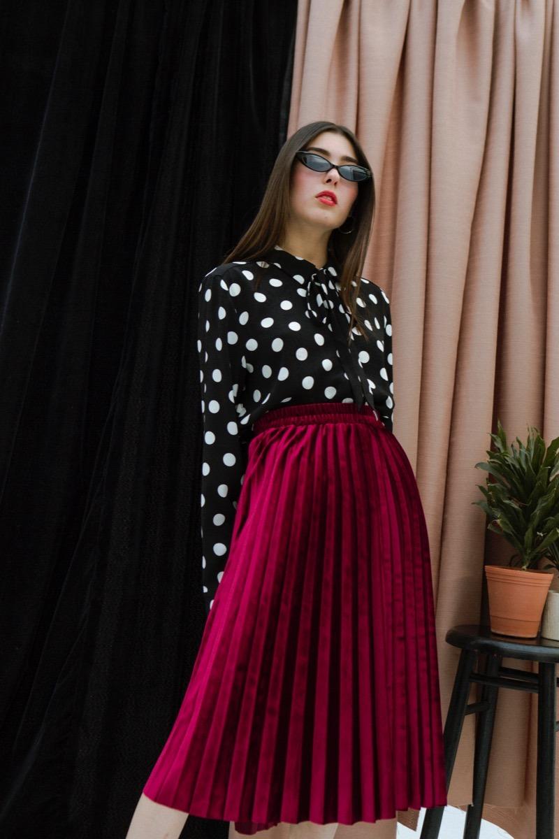 64df4bb5f Falda Plisada Midi Color Rojo Nueva Para Dama