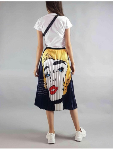 falda plisada midi elastico cintura larga pop art estampada