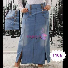 6aad37593 Falda-pollera Larga Jeans Elastizado Tabata 1106