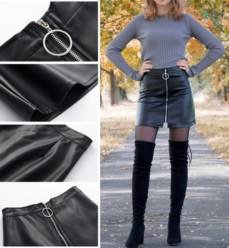falda pollera negra de cuero pu | por encargue |