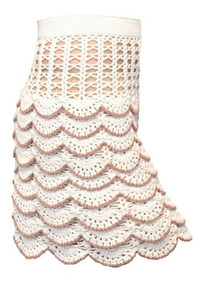 03800bff8 Falda - Pollera Tejida Crochet Cintura Elastizada