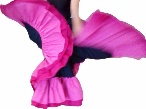 falda profesional de danza folclórica, doble olán y circular