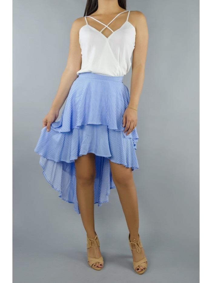 0884a492d Falda Rayas Blanco Y Azul Moda