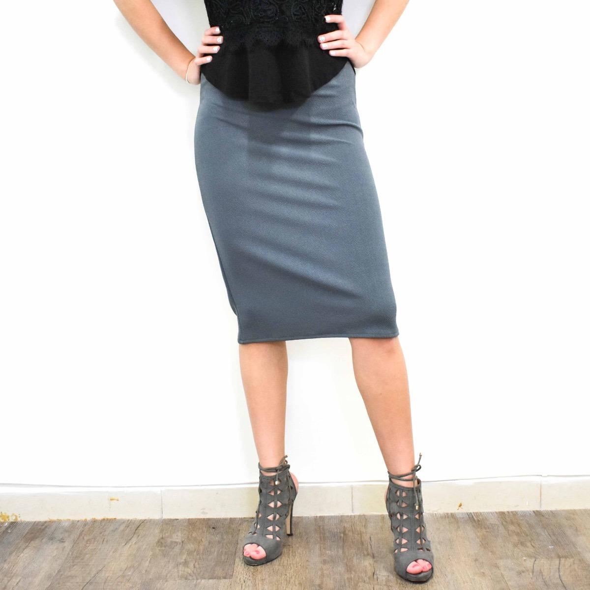 49fd8e7327 Falda Recta Gris Salis Style Envío Gratis -   569.00 en Mercado Libre