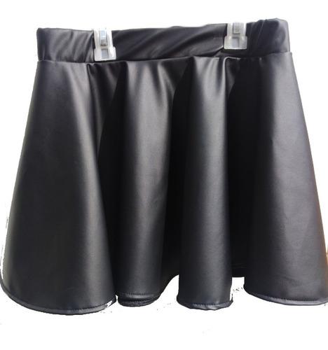 falda rotonda imitación cuero para niña, cuerina licrada