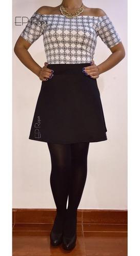 falda semi rotonda corta formal juvenil moda casual mujer