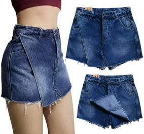 0e4216fbe Falda Short Jean Mujer Oscuro Roto Alto Moda Moderna Casual