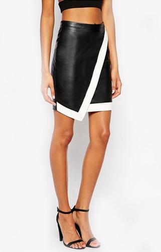 falda simil cuero negra original diseño envío gratis