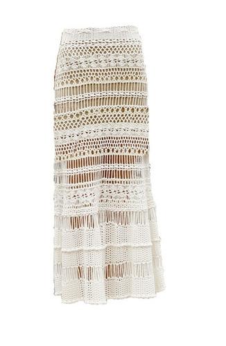 falda tejida larga crochet con forro