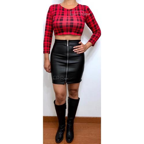 falda tubo corta cuerina cuero cremallera moda juvenil mujer