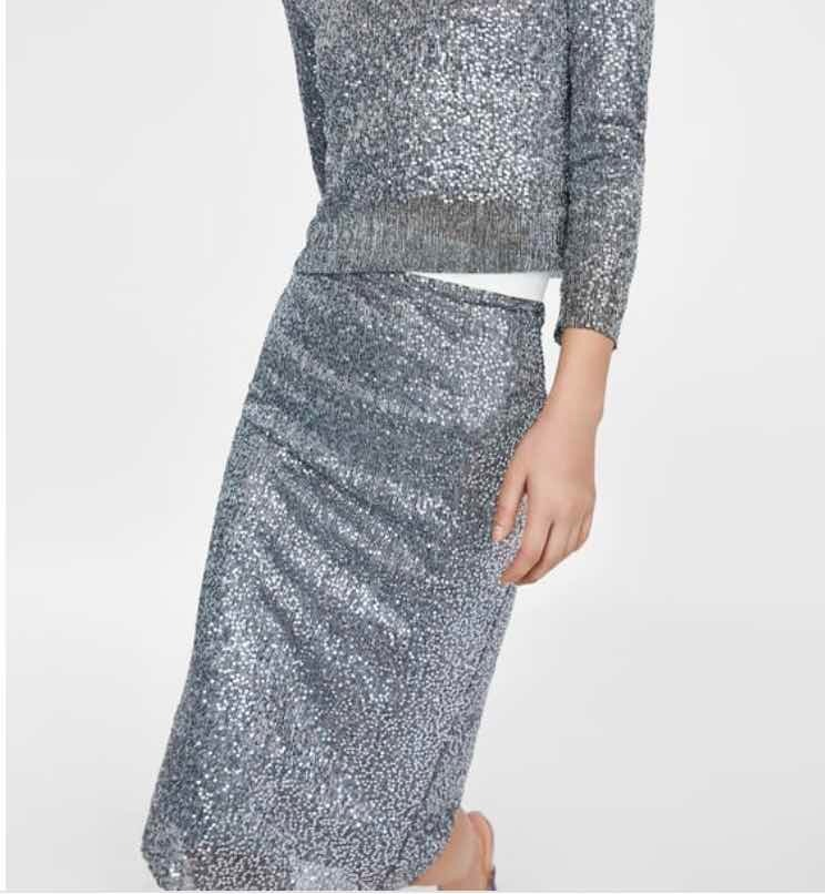 eb1ddb9106d27f Falda Tubo Lentejuelas Zara Talla Xs Nueva - $ 850.00 en Mercado Libre