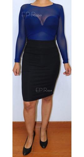 falda tubo rodilla lapiz licrado moda formal mujer juvenil