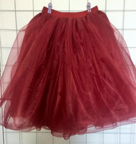 falda tul lolita moda japonesa vintage tutu 4 capas vino