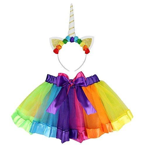 49af2bd32 Falda Tutu Y Diadema De Unicornio/arcoiris Para Niñas