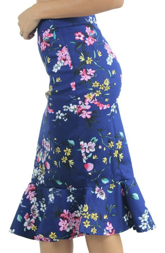 falda volero flores azul marfil cute