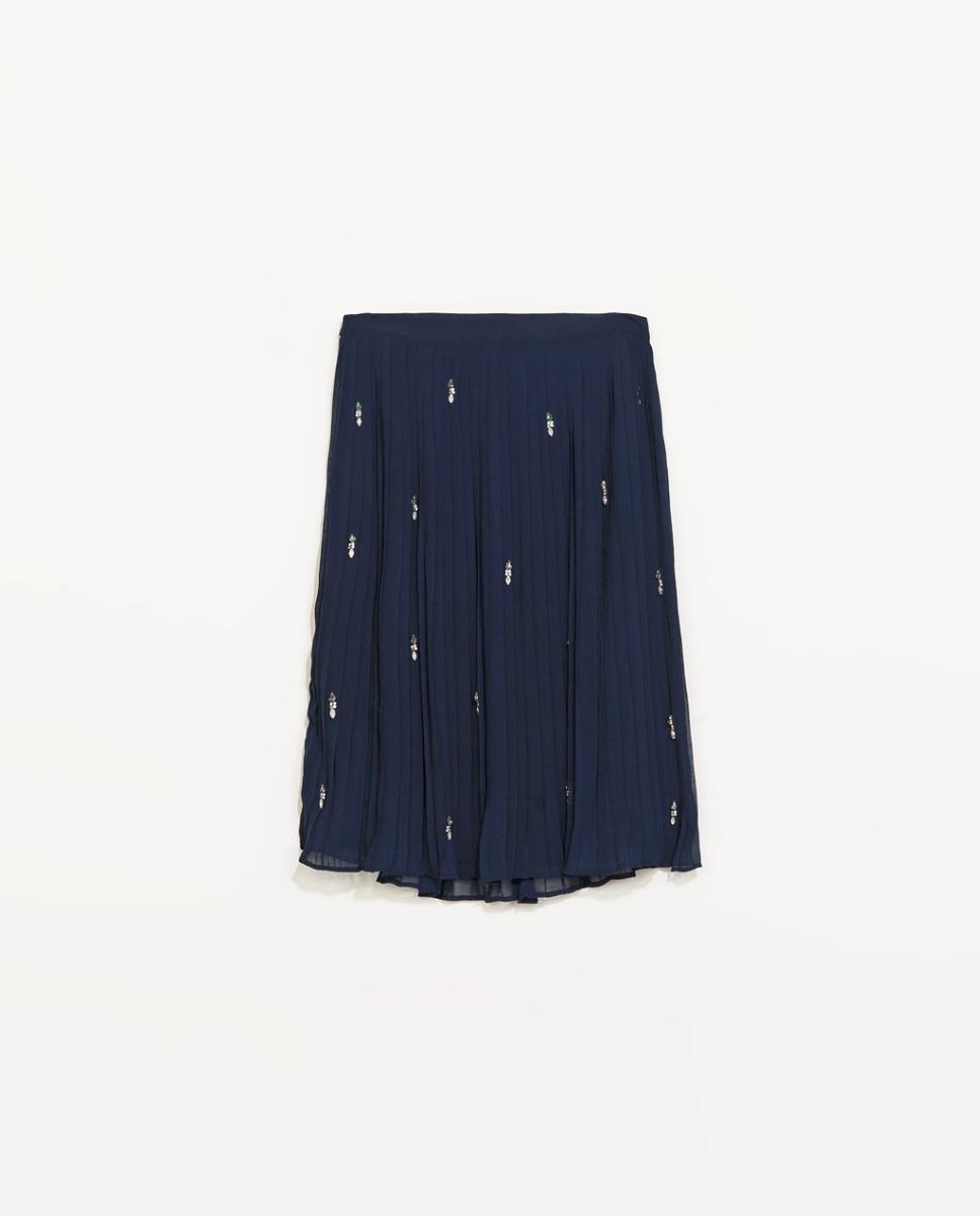 7c44e98eb Falda Zara Azul Abalorios M #278