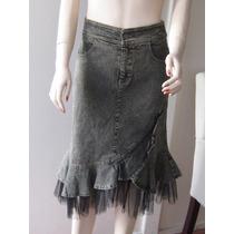 Falda Yeans Elasticado,diseño Con Tul ,talla Chica Xs/s