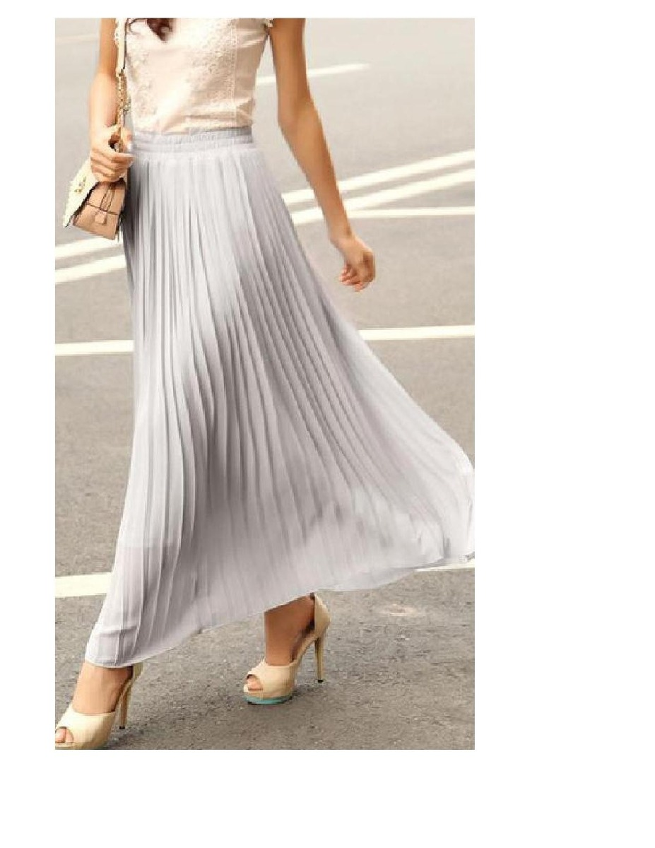 054c741d9 Faldas Largas Doble Gasa Elegantes Grises, Plisadas. - $ 44.000 en ...