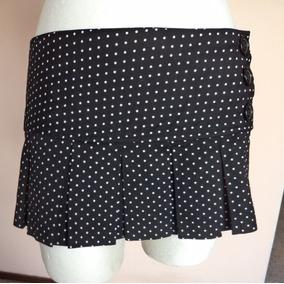 2a5749ebac Sexy Minifalda Negra Con Lunares Blancos Talla L Fch451