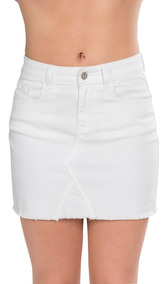 e8194ebf8 Faldas Mujer Minifalda Mezclilla Corta Blanco Algodon X91102