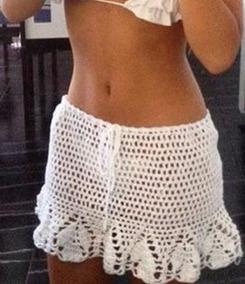 dc596fb5a Faldas Pareos Short Crop Top Traje De Baño Tejidos Crochet