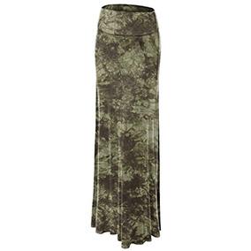 545101966 Faldas Wb1058 Mujeres Tie Dye Fold Over Maxi Falda M Olive
