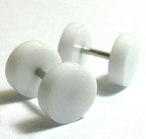 falsos alargadores brancos 8mm flat aço e acrílico (2 unid)