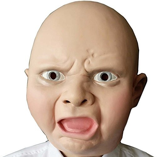 Fami Látex Enojado Cara De Bebé Máscara De Cabeza Partido