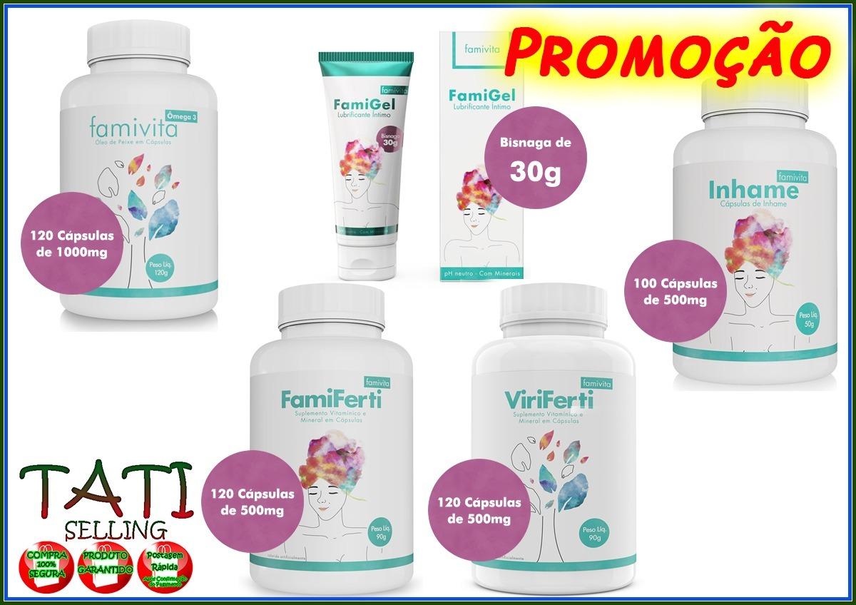 eac74bf0ba2 Famiferti +inhame +viriferti +omega 3 + Famigel Frete Grátis - R  286