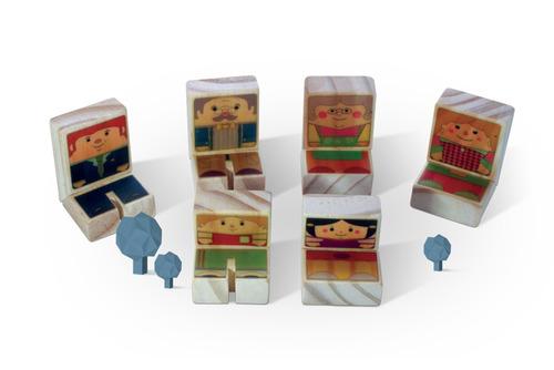 família 2 brinquedo de madeira kitopeq.