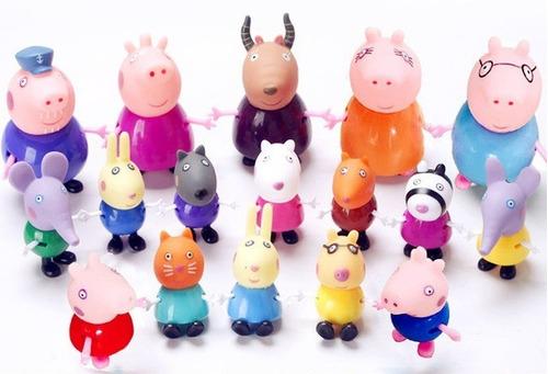 família da peppa pig e amigos 17 peças plástico com borracha