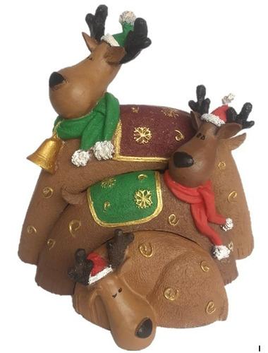 familia de 3 renos navideños en resina elaborado a mano