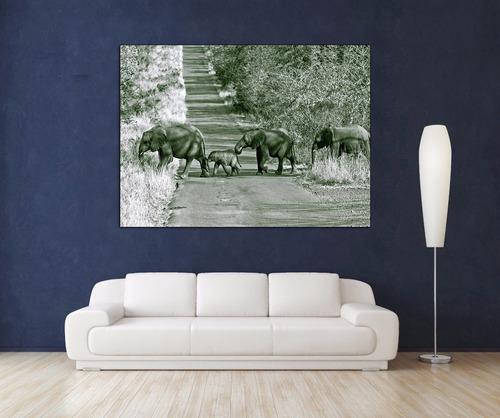 familia elefantes cuadro bastidor canvas 110x80cm muestrass