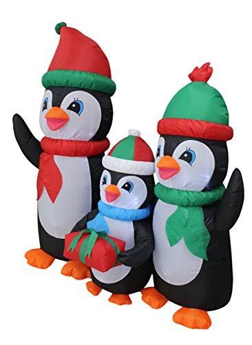 familia inflable encendida alta de los pingüinos de la