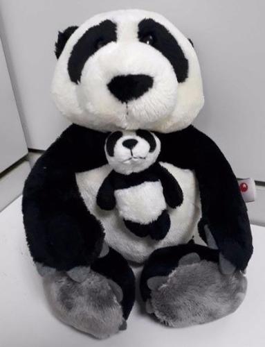familia panda bichinho pelúcia 25cm + 25cm c/ filhote de 8cm