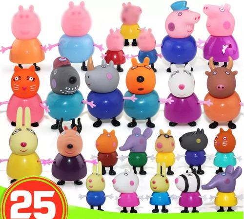 família peppa pig + todos amigos - 25 pçs - miniaturas