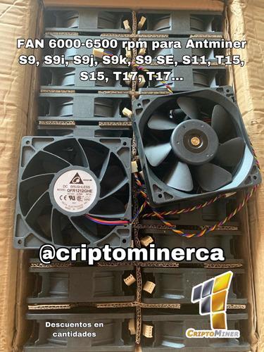 fan cooler 6000 rpm para antminer s9, d3, l3, t9, s11, s15
