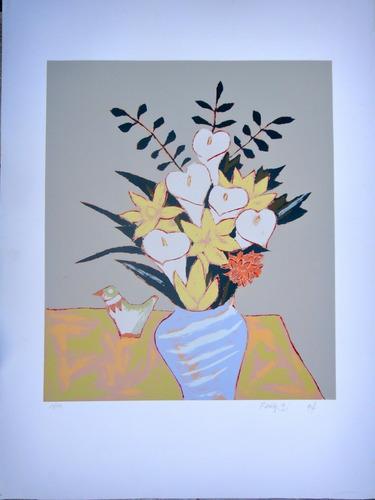 fang - vaso de flores coloridas - serigrafia enorme e linda!