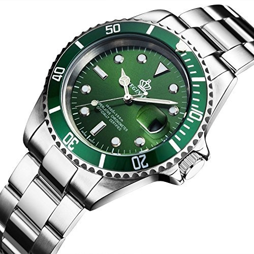 fanmis verde dial rotativo bisel de zafiro de cristal lum...