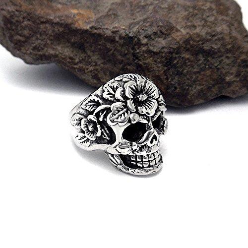 fansing joyas de acero inoxidable de moda cráneo de flores