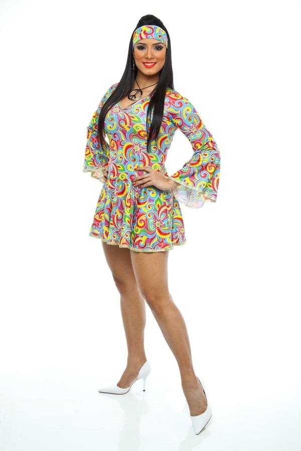 Fantasia anos 70 feminina hippie boogie oogie vestido r for Mobilia anos 70