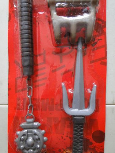 fantasia armas ninja dragão vermelho boleadeira soco punhal