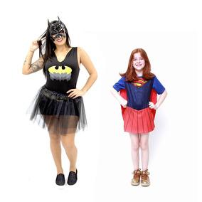 5e73fdacabbfb8 Fantasia Batgirl Adulto Completa E Super Girl Inf Heroinas