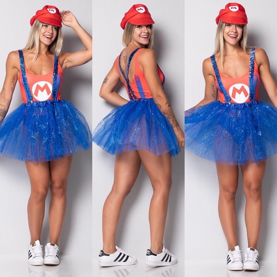 fantasia body feminina super mario bros carnaval + saia tule. Carregando  zoom. 69004adaa80