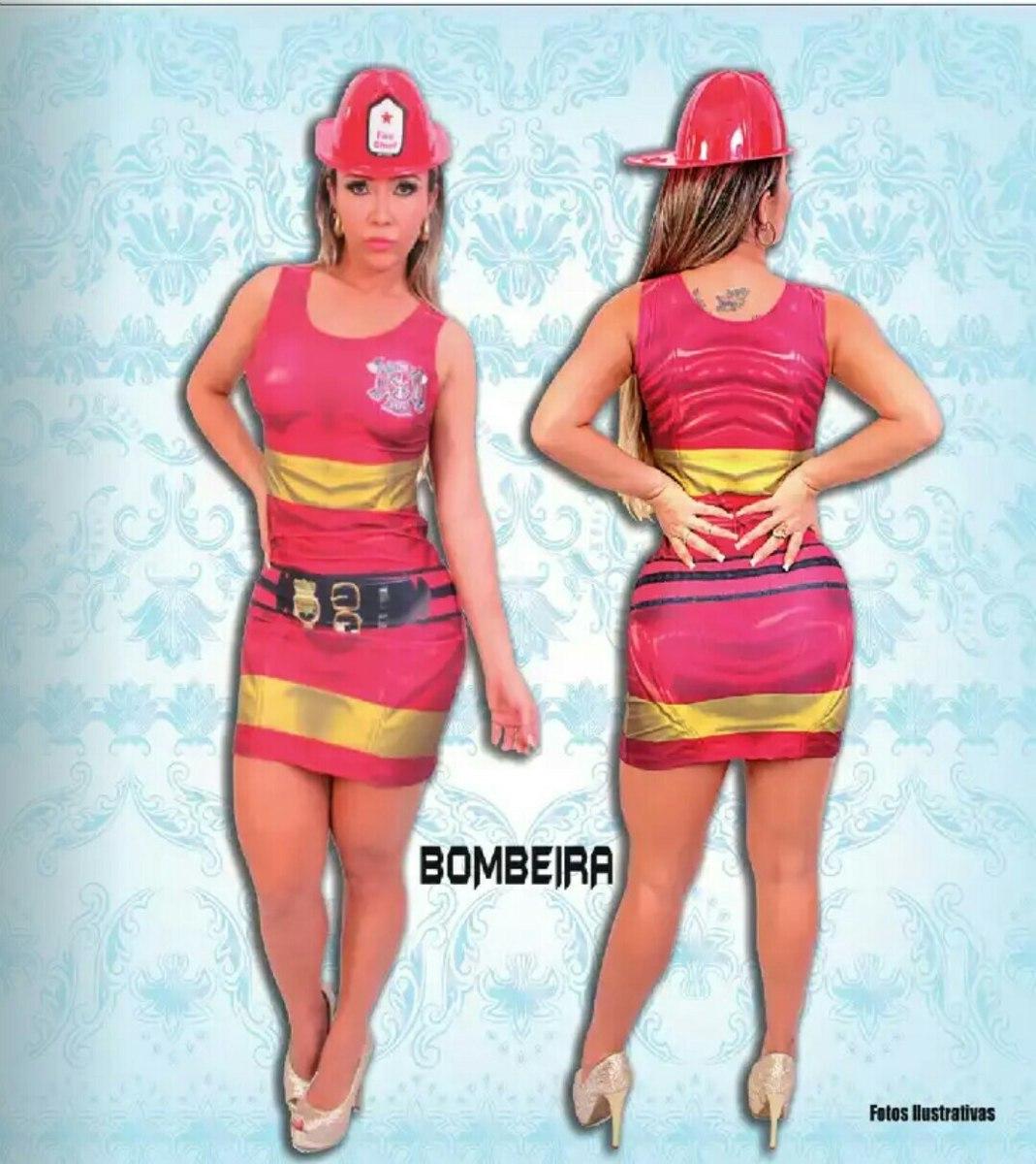 dad2e78418 Fantasia Bombeira Feminina Completa - R$ 99,90 em Mercado Livre